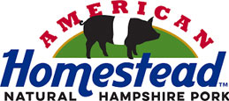 American Homestead Natural Hampshire Pork logo and testimonial